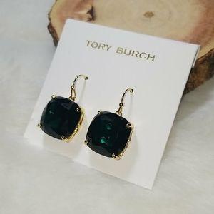 Tory Burch green crystal drop earrings